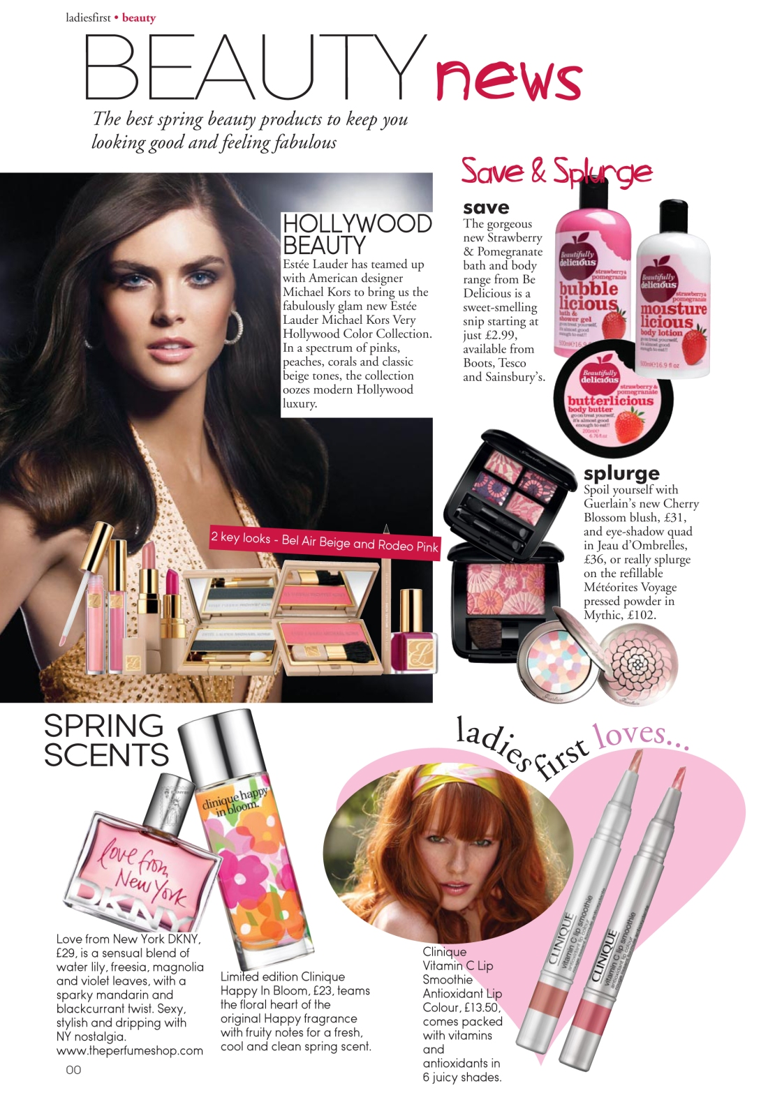 Beauty news spread for Ladies First Spring 2010 issue - page 1 - Amy Lewis