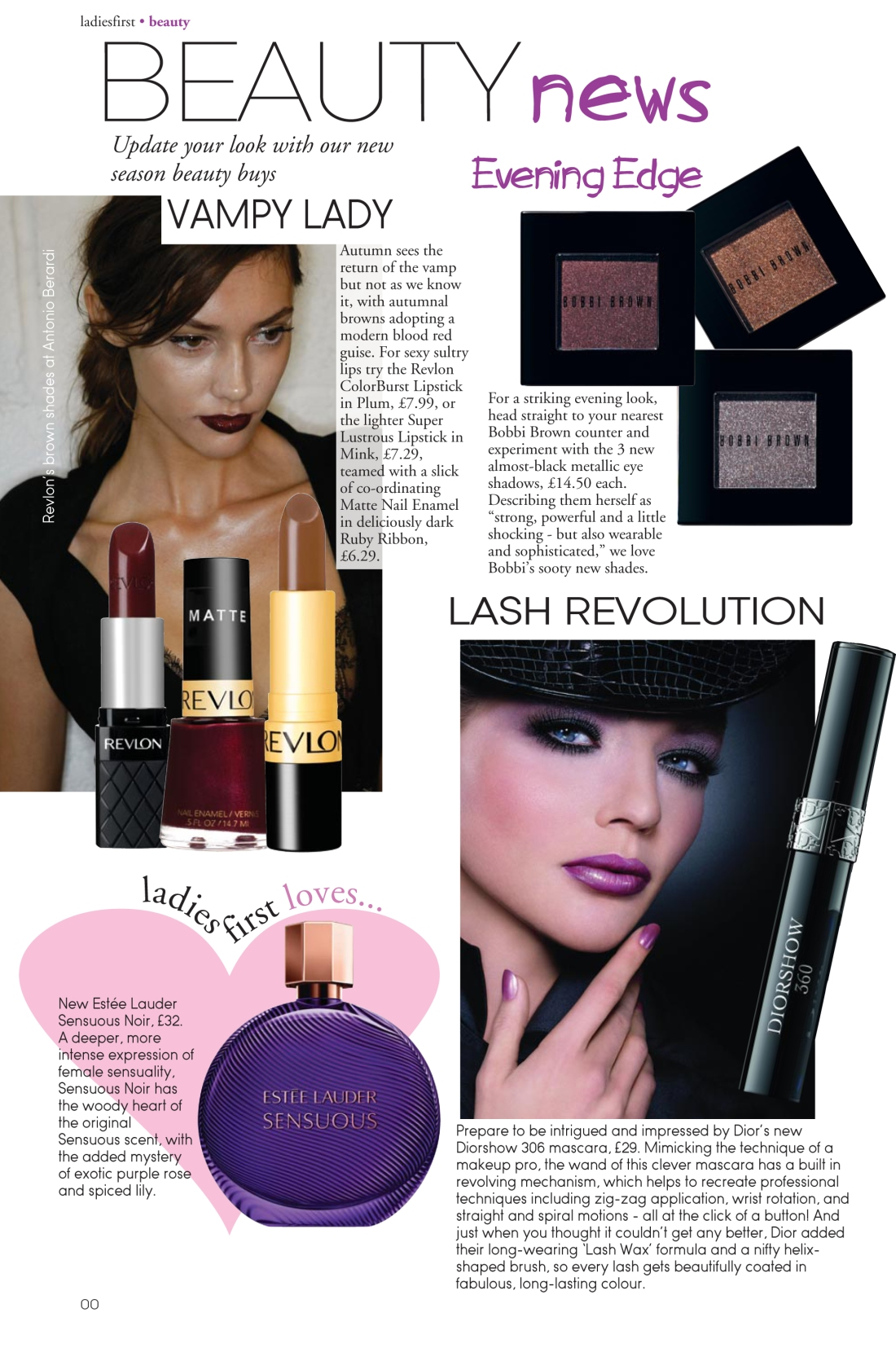 Beauty news spread - Ladies First Autumn 2010 issue- page 1- Amy Lewis
