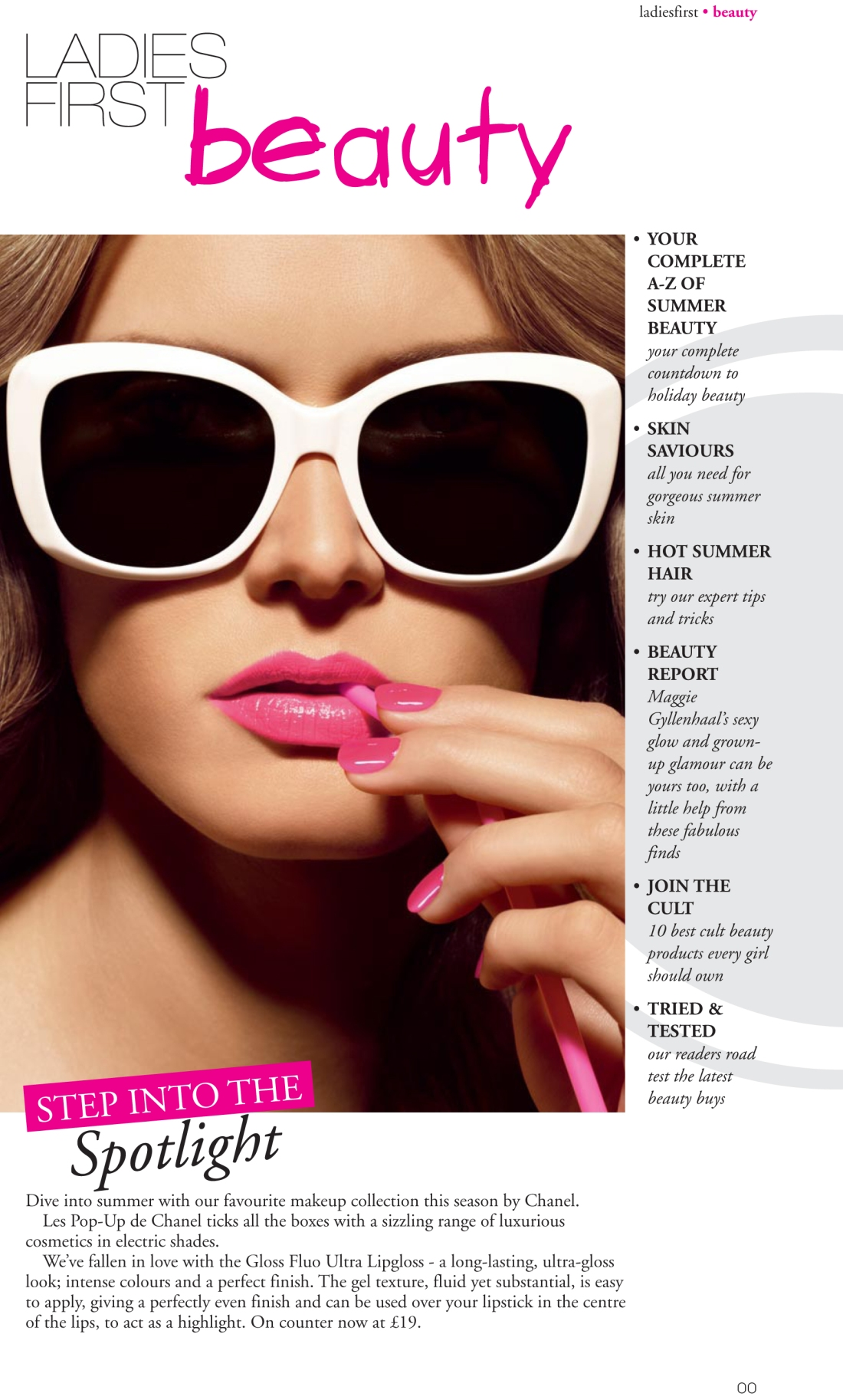 Beauty section lead page - Ladies First Summer 2010 issue - Amy Lewis