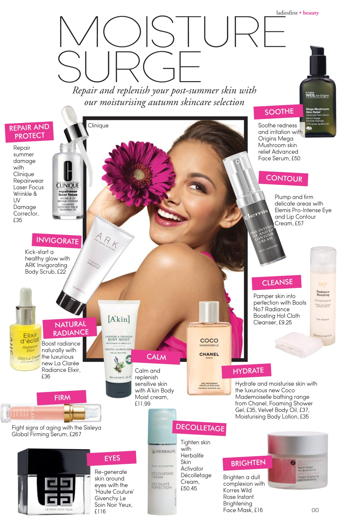 Moisture Surge post-summer skin repair feature- Ladies First Autumn 2010 issue-Amy Lewis