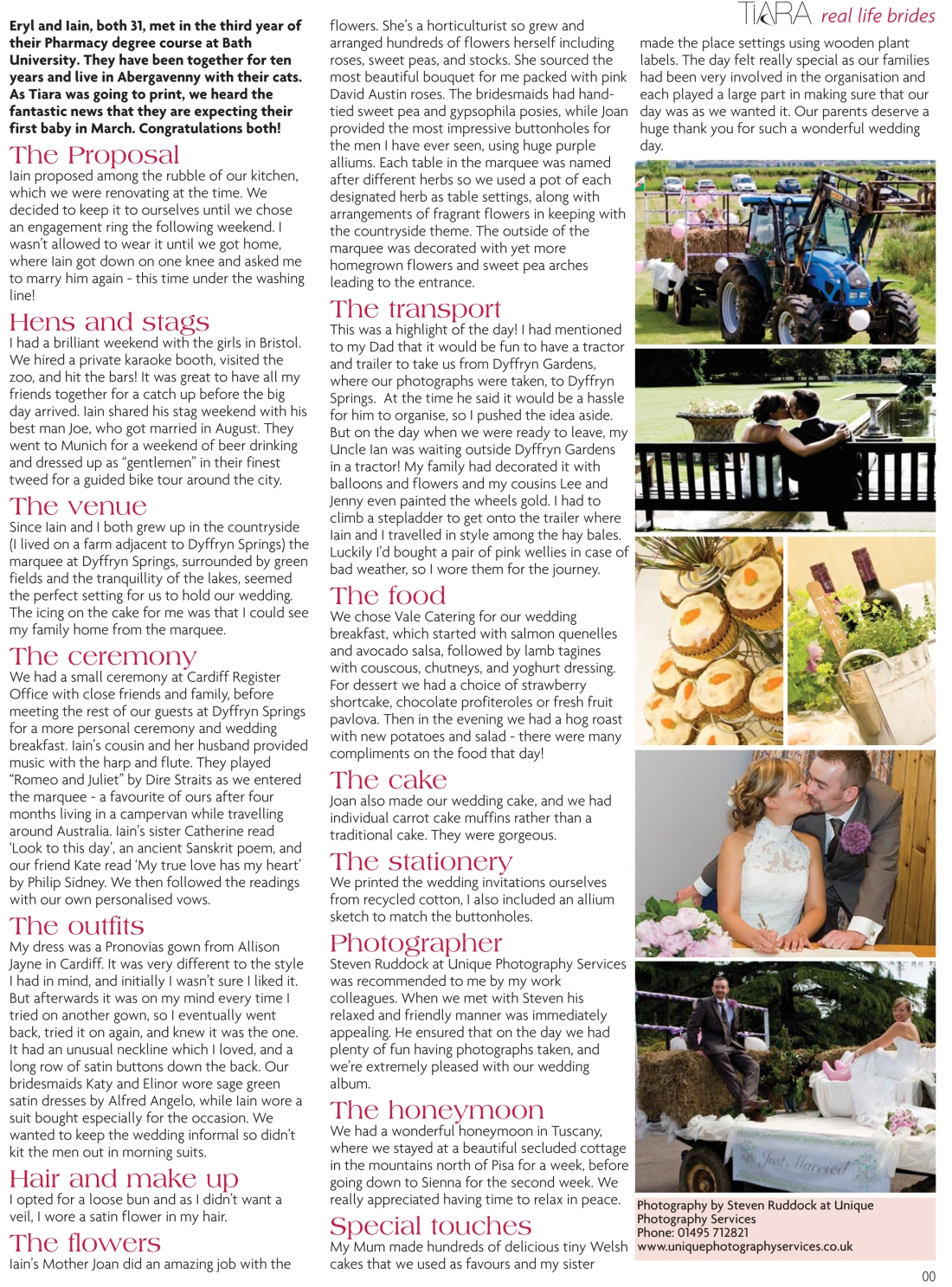 Real life brides feature, Eryl and Iain, Tiara magazine Spring 2010 issue-page 2-Amy Lewis