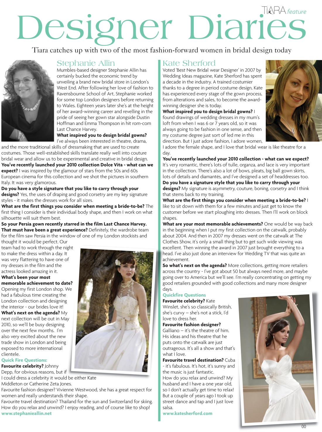 Interview with bridal designers Stephanie Allin and Kate Sherford - Tiara magazine Spring 2010 issue - Amy Lewis