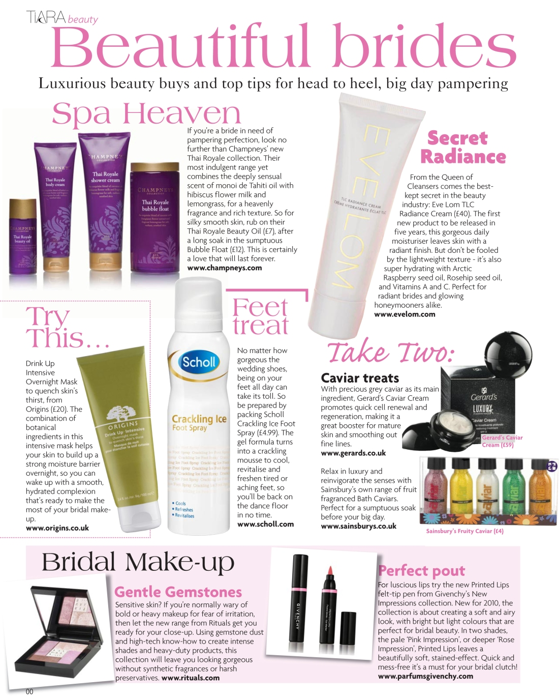 Bridal beauty news spread - Tiara magazine Spring 2010-page 1-Amy Lewis
