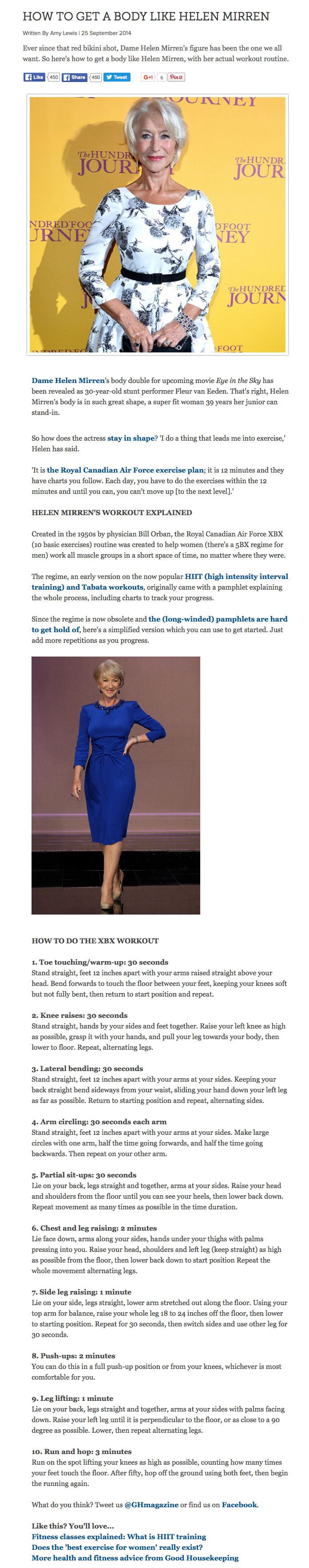 How to get a body like Helen Mirren