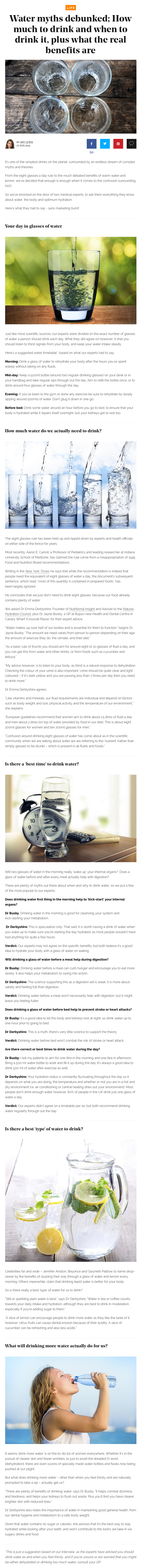 Water myths debunked; How much to drink and when to drink it, plus what the real benefits are